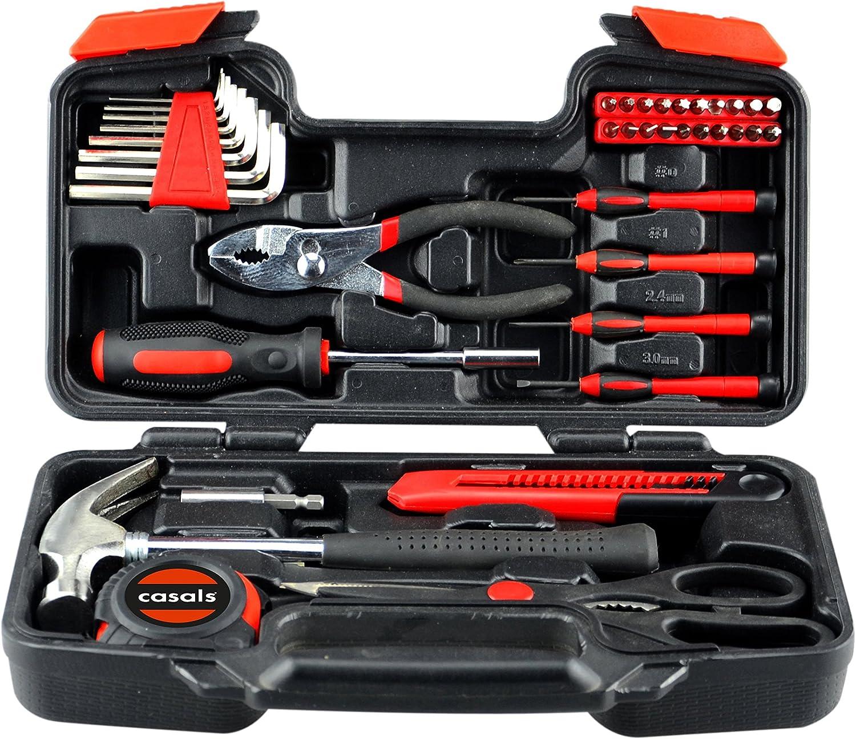 Casals HH39 - Set herramientas 39 piezas (puntas de atornillar, llaves hexagonales, destornilladores de precisión, martillo, metro, tijeras, alicates de pato, cutter) color naranja y negro: Amazon.es: Bricolaje y herramientas