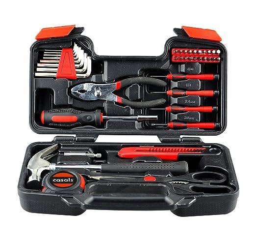 Casals HH39 - Set herramientas 39 piezas (puntas de atornillar, llaves hexagonales, destornilladores de precisión, martillo, metro, tijeras, alicates ...