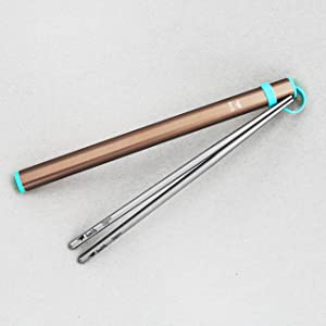Keith Titanium Ti5822 Portable Square Handle Chopsticks with Aluminum Case (orange)