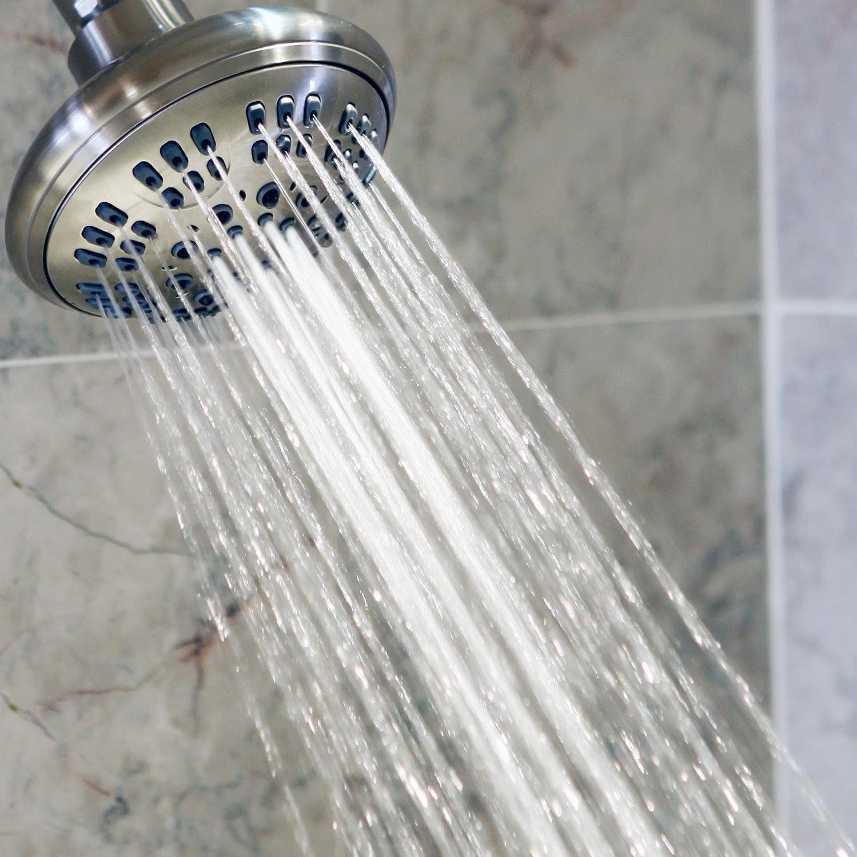 Bathroom Showerhead For Low Flow Showers High Pressure Boosting 6 Function Adjustable Luxury Shower Head Oil-Rubbed Bronze Aqua Elegante SYNCHKG092080 Wall Mount