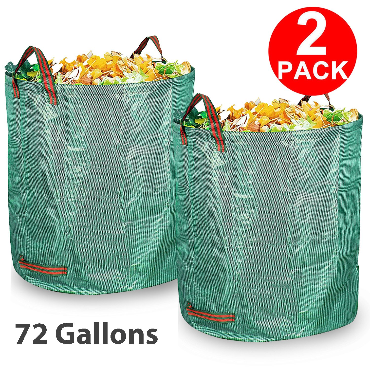 Garden Waste Bag, 2 Pack 72 Gallons Reusable and Collapsibles Extra Large Gardening Lawn Grass Yard Leaf Bags Heavy Duty Durable Leaf Container Garbage Trash Bucket Garden Supply