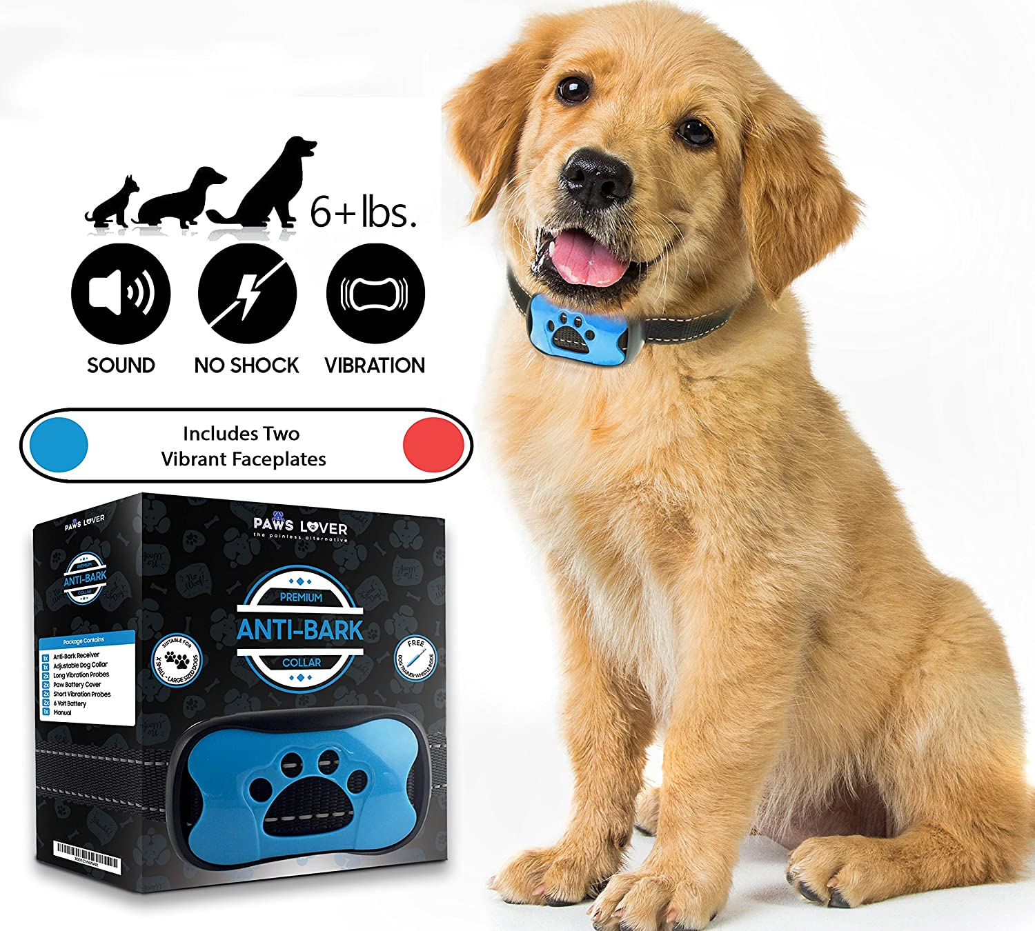 Paws Lover Anti Bark Collar Humane, No Harm Shock Bark Collar for Small Medium Large Dogs 7 Tone Levels – Sensitivity Adjustable, Sound Beep and Vibration No Bark Training Control