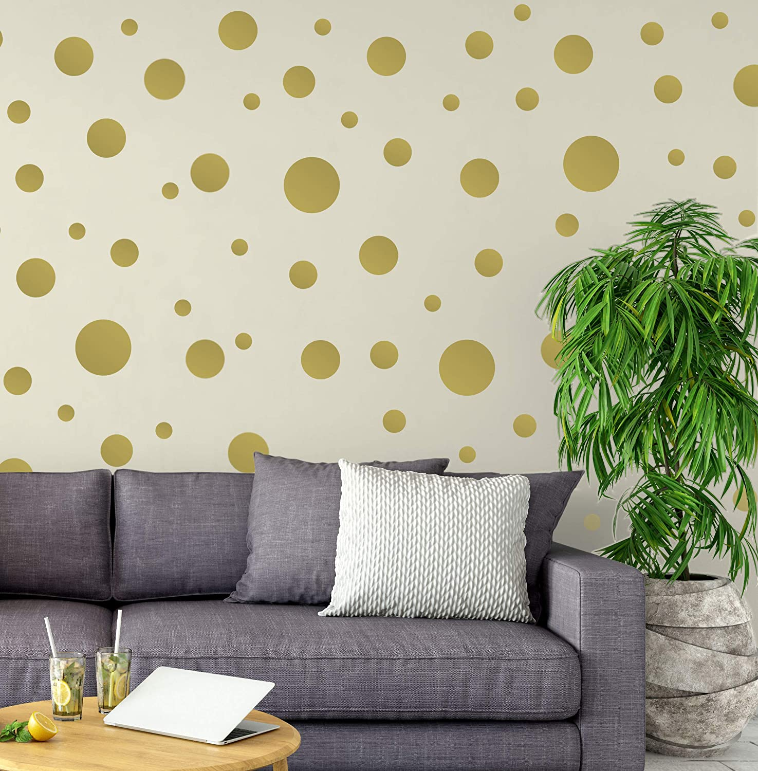 Create-A-Mural Polka Dot Wall Stickers, Wall Decor Stickers, Wall Dots, Vinyl Circle Room Dot Decals Wall Art Stickers for Bedroom Girls Room Peel and Stick Kids Room Decor Birthday Gift (Gold)