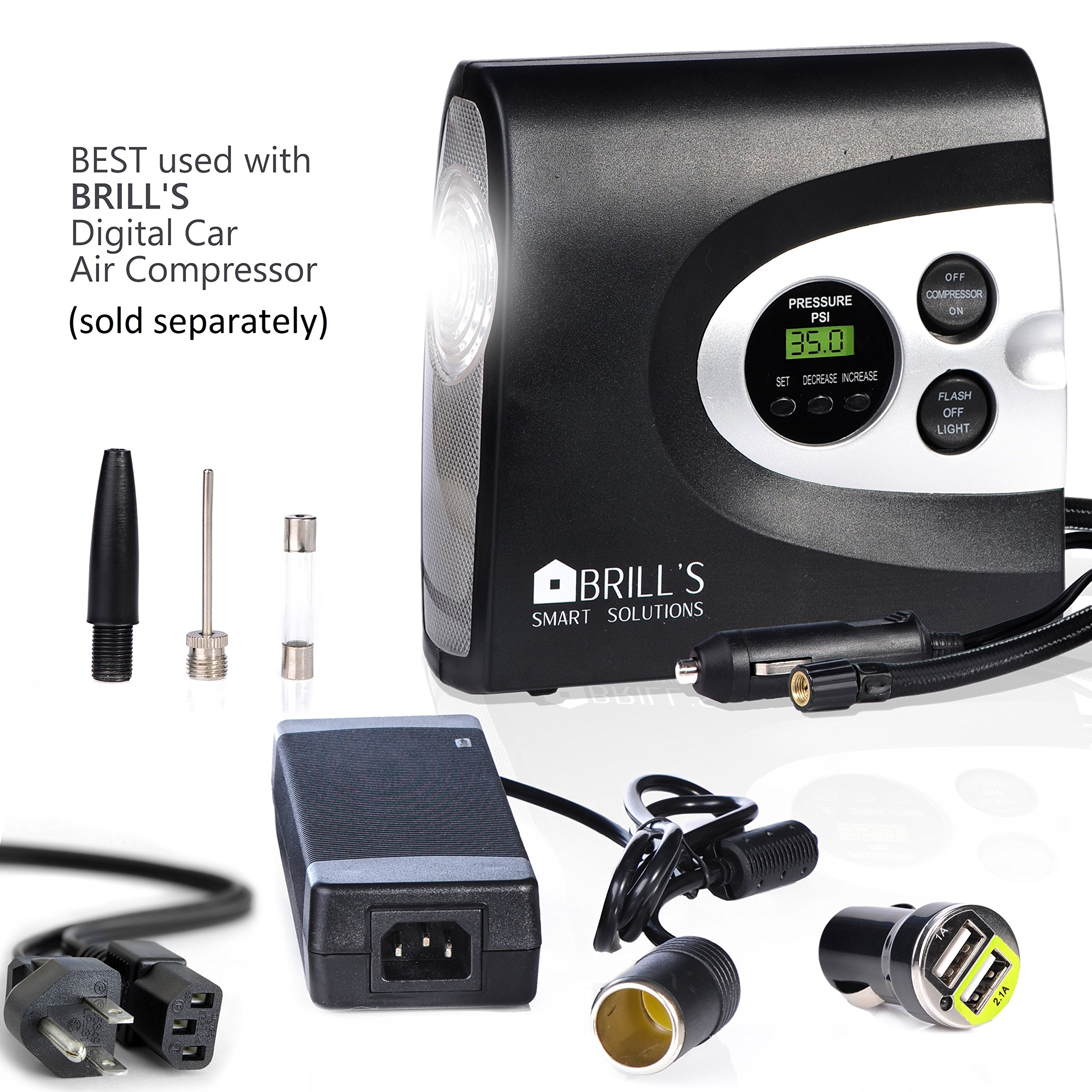 BRILL'S 12V DC Portable Tire Inflator Pump, 150 Psi Electric Air Compressor for Cars, Bikes, Motorcycles and Balls. Carry Case and USB Car Charge Included by BRILL'S SMART SOLUTIONS (Image #9)