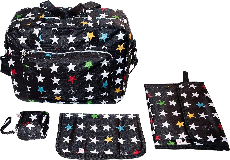 My Bags Kit Bolso Maternidad+ Cambiador + Portadocumentos bebes + Porta chupetes Negro Estampado Estrellas: Amazon.es: Bebé