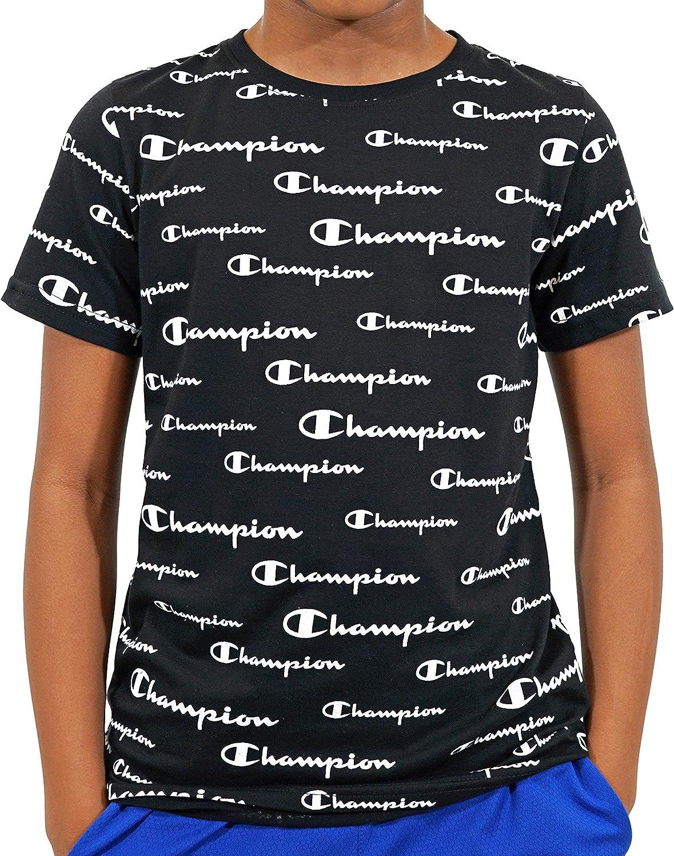 Champion Boys Heritage Tee Shirt All Over Print Graphic Top Cotton Short Sleev Medium, All Over Script Black