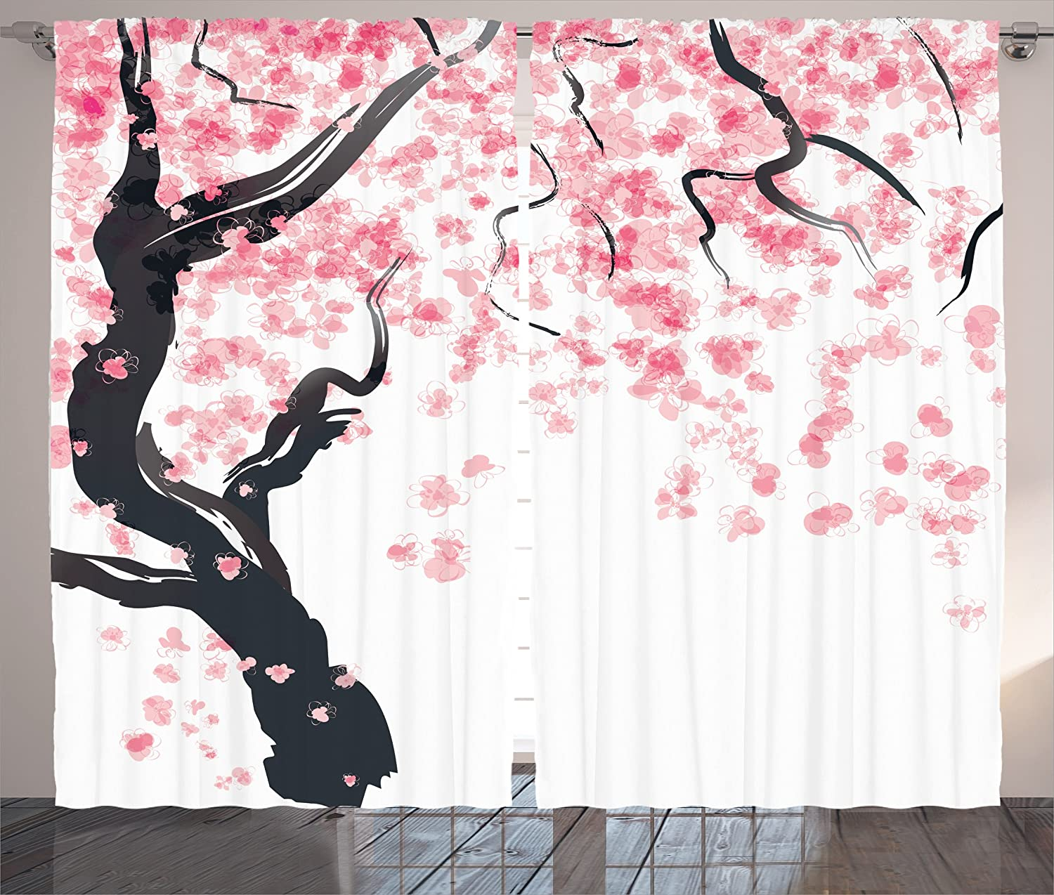 Amazon.com: Japanese Curtain House Decor By Ambesonne, Japanese Cherry Tree  Blossom In Watercolor Painting Effect Oriental Stylized Art Deco, ...