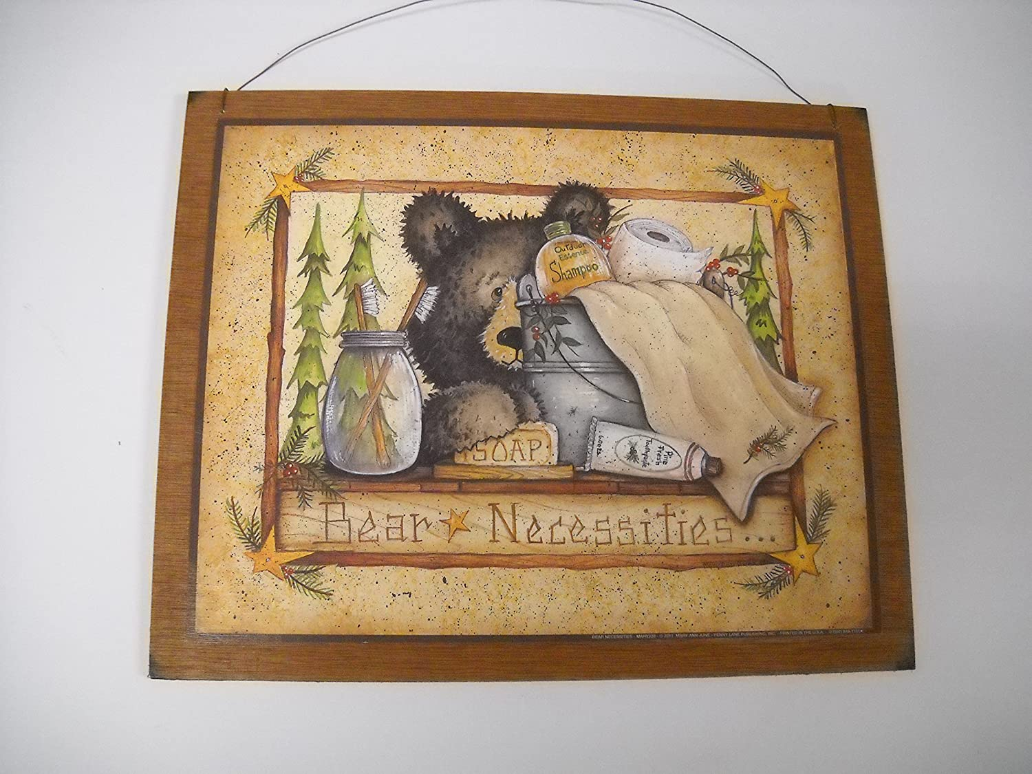 Amazon.com: Bear Necessities Wooden Country Bathroom Wall Art Sign Bath  Decor Outhouse Theme: Home U0026 Kitchen