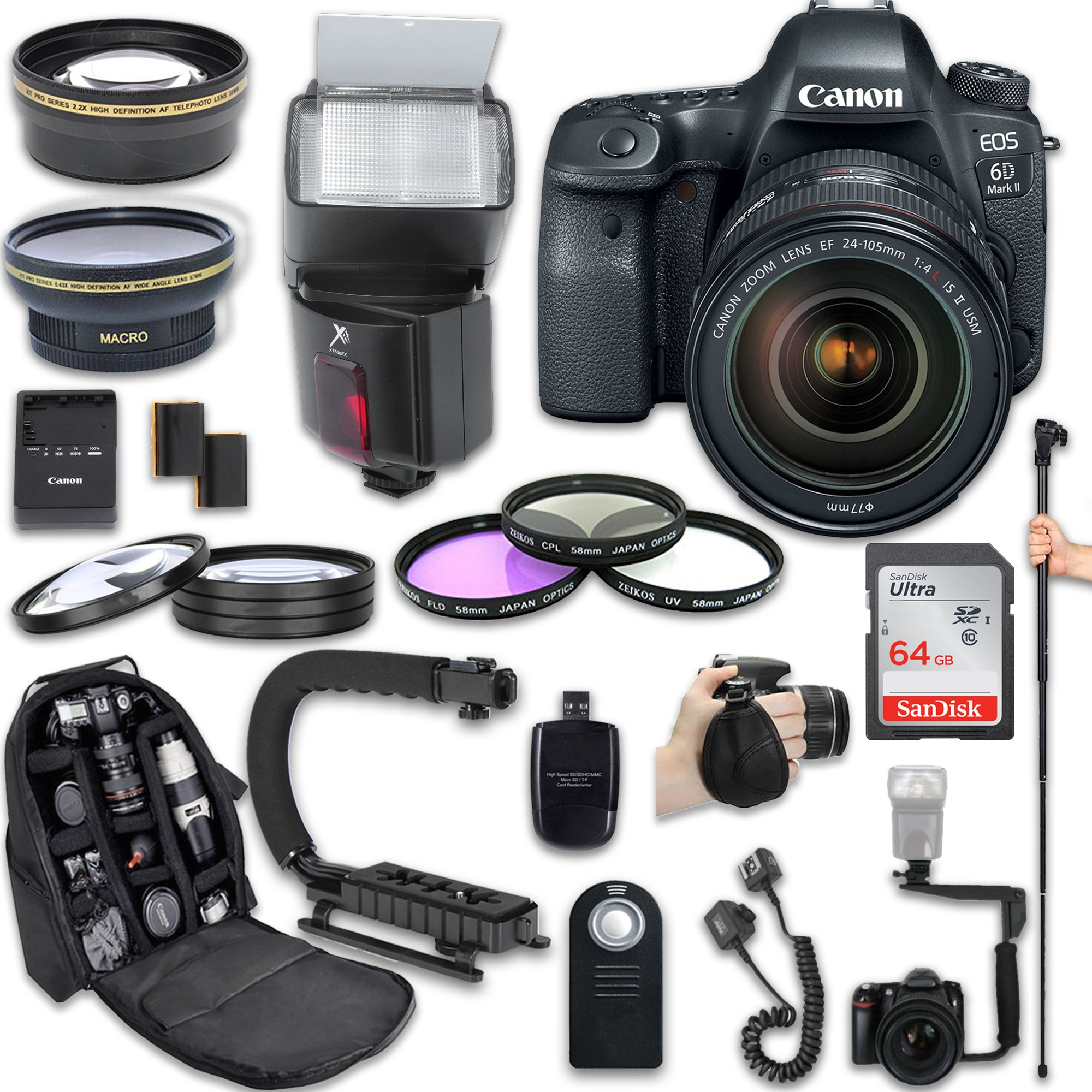 Canon EOS 6D Mark II DSLR Camera + Canon EF 24-105mm f/4L IS II USM Lens + Fully Dedicated TTL Flash + 64Gb SDXC Card + 57 Inch Monopod + FB-150 Flash Bracket + Backpack Case (21 items kit) by Canon