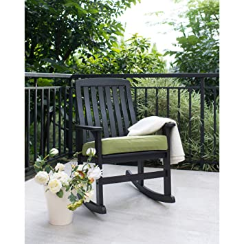Beau BHG Delahey Wood Porch Rocking Chair, Dark Brown, Better Homes And Gardens