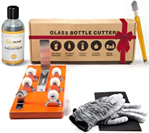 Bottle Cutter & Glass Cutter Oil Bundle - DIY Machine for Cutting Wine, Beer, Whiskey, Alcohol, Champagne, Water or Soda Round Bottles & Mason Jars to Craft Glasses - Accessories Tool Kit, Gloves