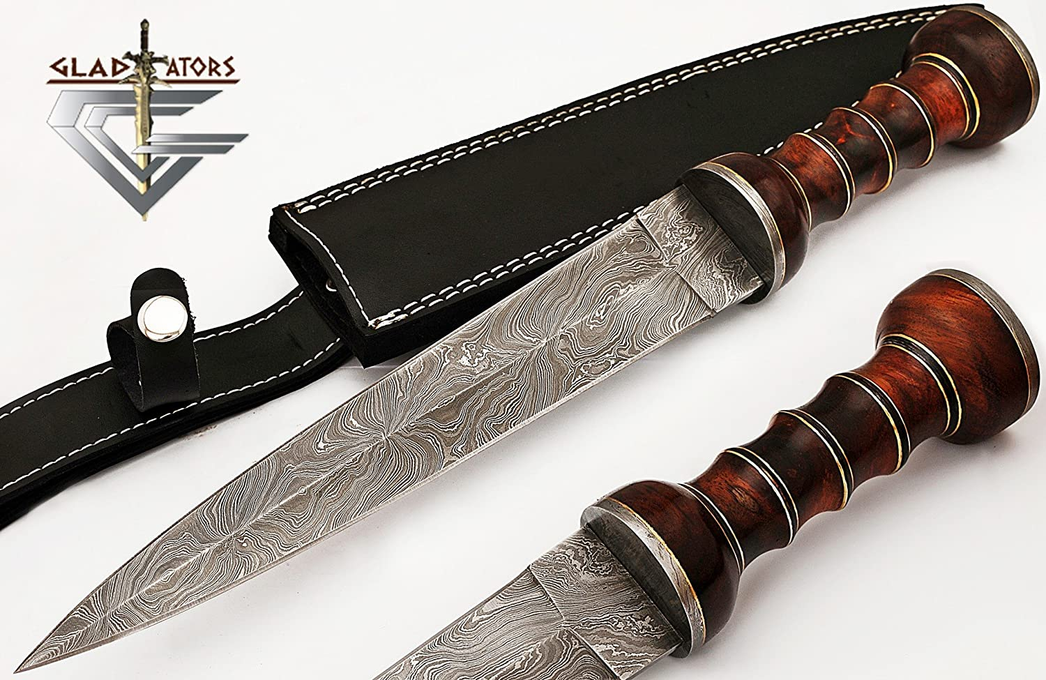 2607 Custom Handmade Damascus Steel Roman Gladius Sword Dagger knife Short Sword Red Wood Handle (Replica)  by GladiatorsGuild