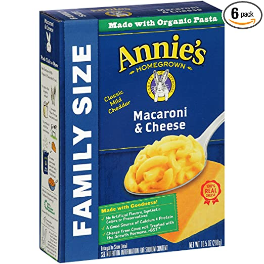 Annie's Family Size Macaroni and Cheese, Pasta & Classic Mild Cheddar Mac and Cheese, 10.5 oz Box (Pack of 6)