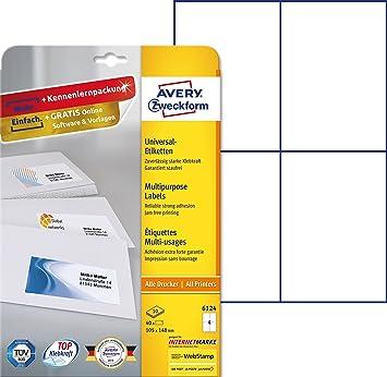 Avery 6124 Color blanco etiqueta de impresora - Etiquetas de ...