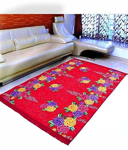 Warmland Floral Velvet Carpet - 60x84, Red 2