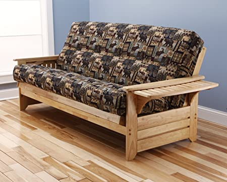 Phoenix Futon Sofa in Natural Finish with Peter s Cabin Mattress