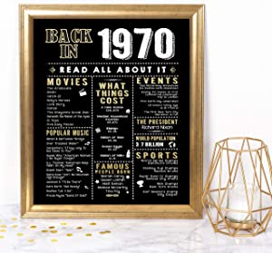 Katie Doodle 50th Birthday Decorations Gifts for Women or Men - Includes 8x10 Back in 1970 Print [Unframed], BD050, Black/Gold
