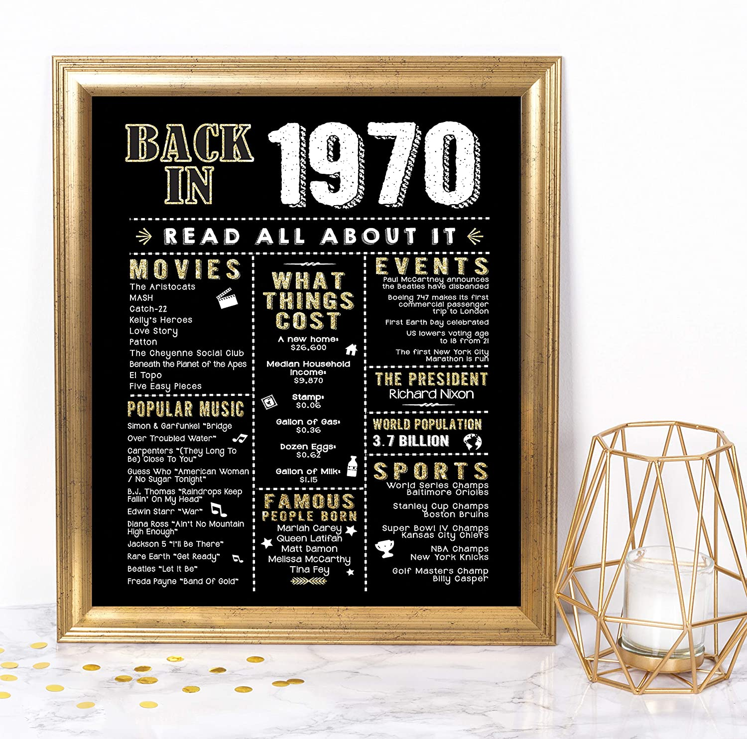 Katie Doodle Disco 70s Party Decorations Supplies Decor Centerpiece for 70's Theme | Includes Back in 1970 Sign [Unframed], Black Gold