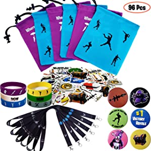 Gaming Party Supplies Set - 96 Pack Video Game Birthday Party favors set, Reusable Drawstring Gift Bags, Gaming Lanyards, Pin Badges, Bracelets & Gamer Stickers