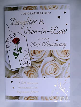 Congratulations daughter son in law on your first anniversary 1st congratulations daughter son in law on your first anniversary 1st rose design greeting card m4hsunfo