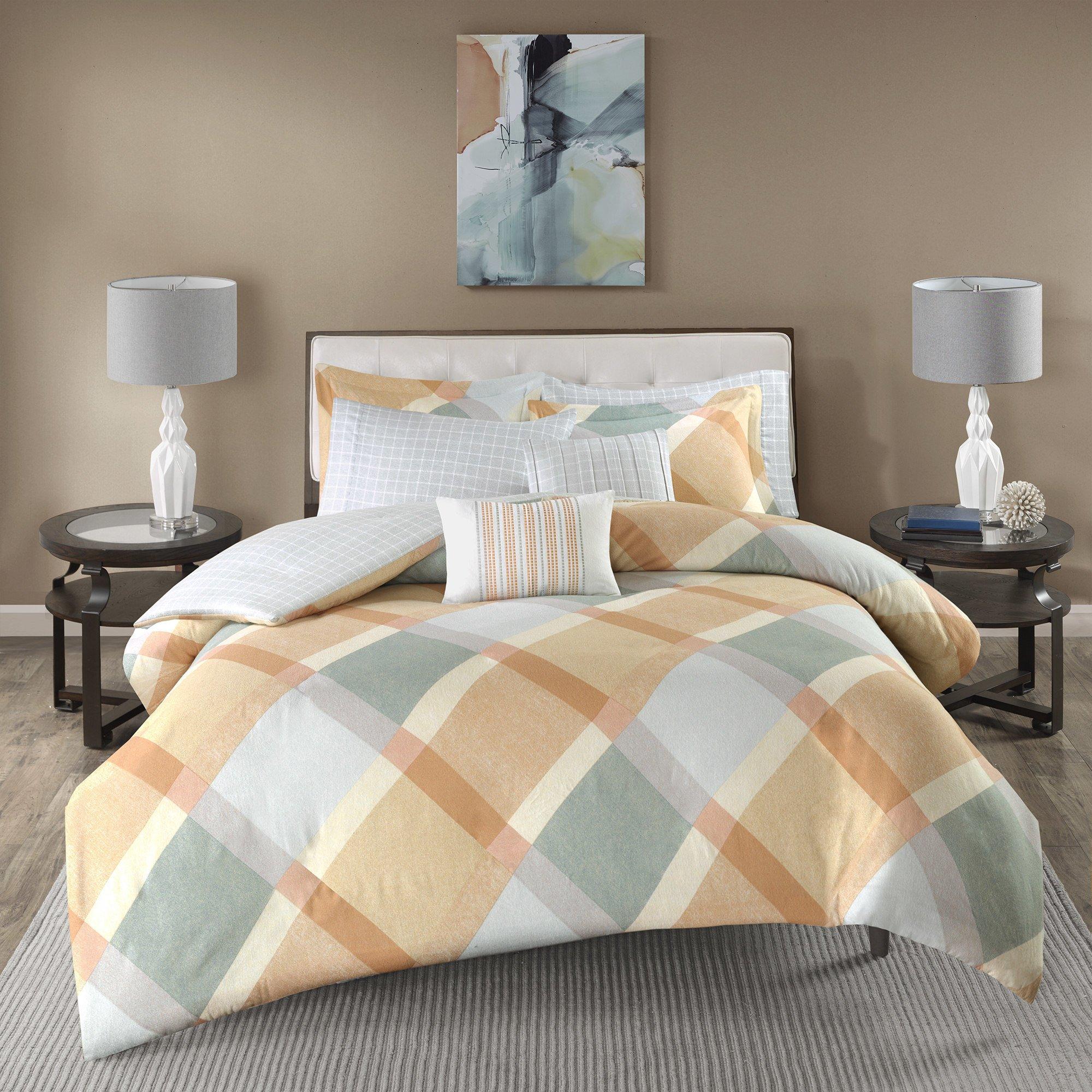 7 Piece Coral Orange Grey Off White Checkered Diamond Plaid Themed Flannel Duvet Cover Full Queen Set, Beautiful Geometric Checker Bedding, Chic Reverse Windowpane Theme Pattern, Cotton