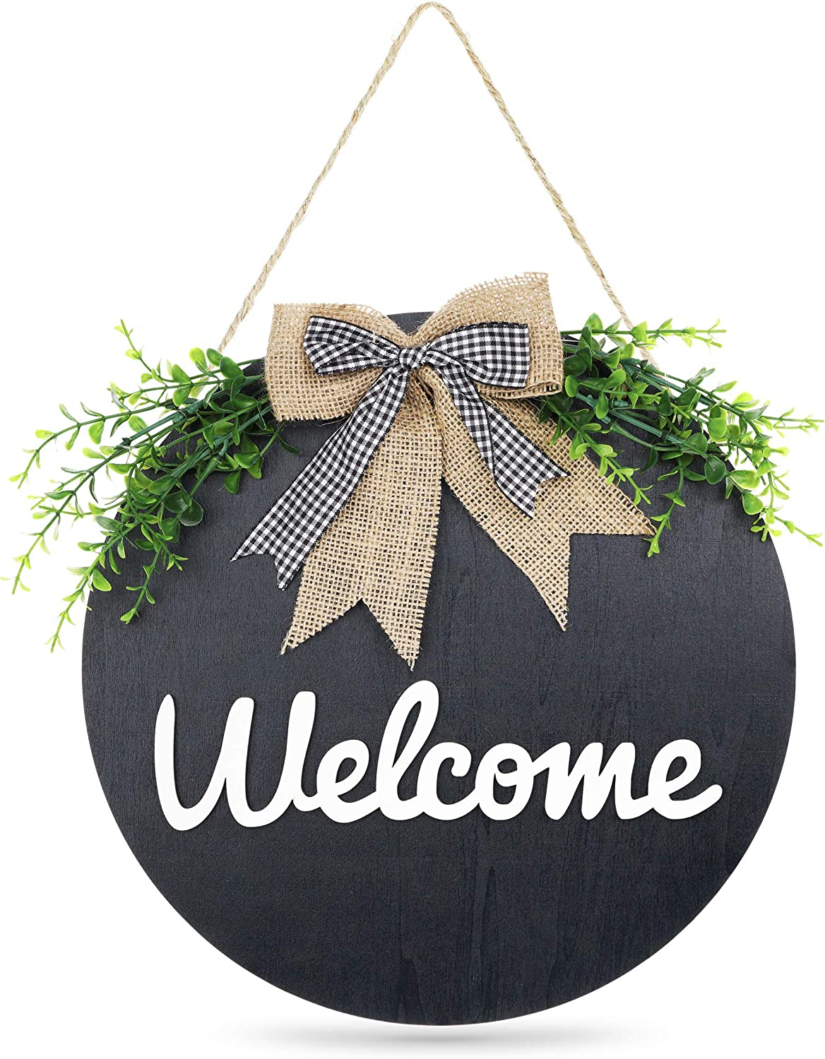 Welcome Sign for Front Door Porch Signs Wood Round Hanging Farmhouse Wreath Housewarming Gift Rustic Home Decor Door Wreaths Front Door Outside Decorations