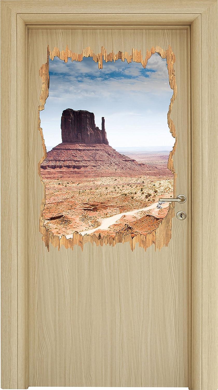 svolta Monument Valley Stati Uniti d'America in legno nel look 3D, parete o formato adesivo porta: 92x62cm, autoadesivi della parete, autoadesivo della parete, decorazione della parete Stil.Zeit