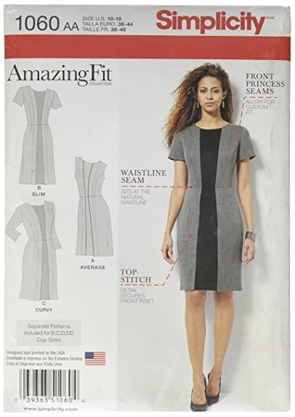 Simplicity 1060 Size AA Misses Amazing Fit Dress Sewing Pattern ...