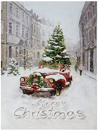 Antique Truck In City W Tree Photo On Canvas Led Lights Wall Art Christmas Decor