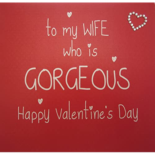 Wife valentines day card amazon white cotton cards to my wife who is gorgeous happy valentines day hand finished valentines m4hsunfo