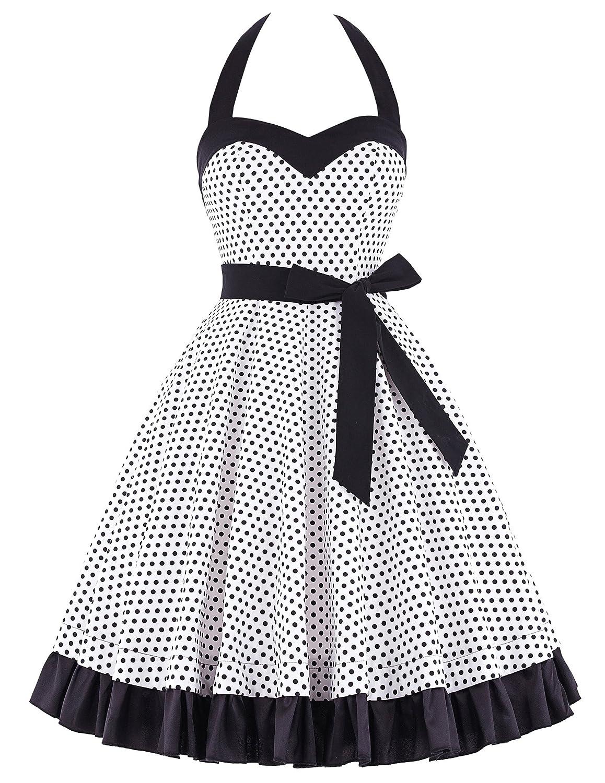 50s Retro Vintage Rockabilly Kleid Neckholder Festliches Kleid Petticoat Kleid