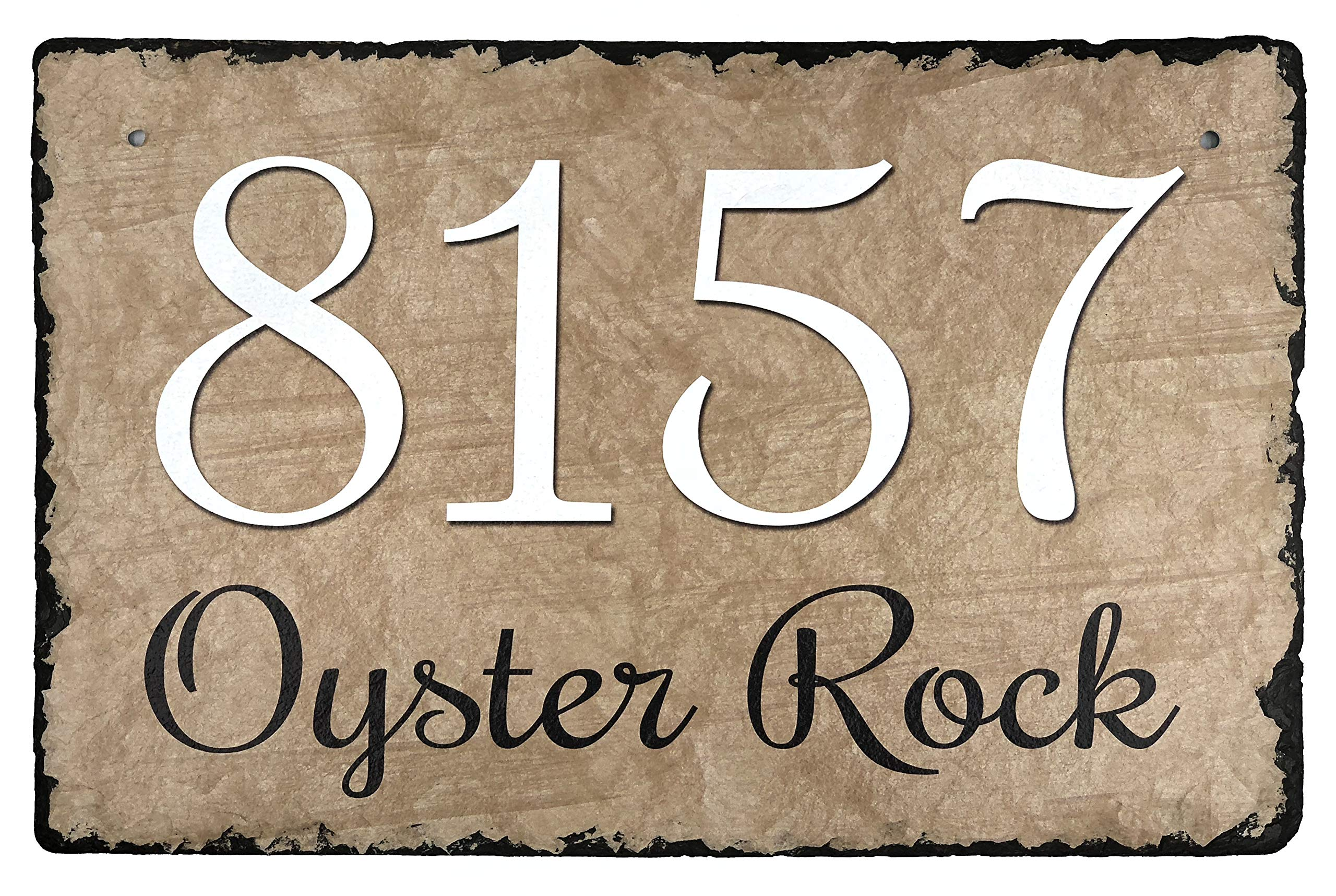 Sassy Squirrel Beautifully Handcrafted and Customizable Slate Home Address Plaque (16''x10'' or 12''x8'') Personalized House Sign with and mounting Hardware. Improve The Curb Appeal of Your Property by Sassy Squirrel