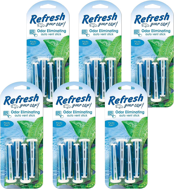 Refresh Your Car 86545 Pacific Rain Auto Vent Stick 6 Pack, 4 Per Pack