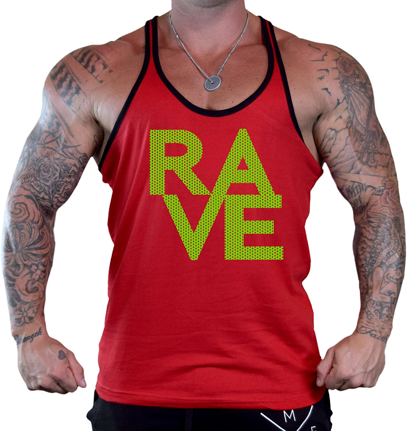 Mens Green Mesh Rave Red Stringer Tank Top