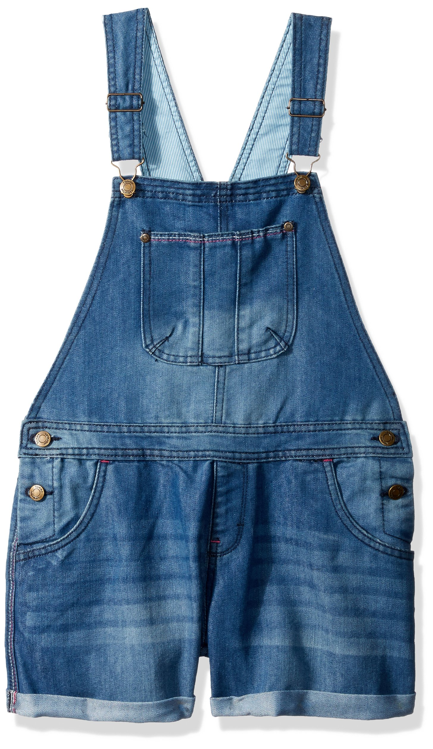 Tommy Hilfiger Big Girls' Denim Shortall, Parisian Blue, Large