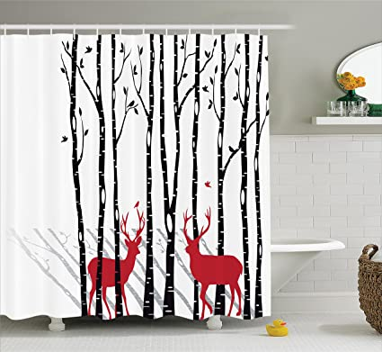 Ambesonne Antlers Decor Shower Curtain Set Deer Tree Forest Backdrop With Red Holiday Theme Flying