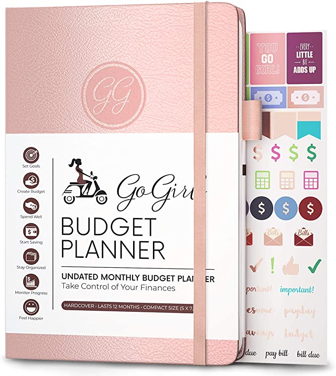 """GoGirl Budget Planner - Monthly Financial Planner Organizer Budget Book. Expense Tracker Notebook Journal to Control Your Money. Undated - Start Any Time, 5.3"""" x 7.7"""", Lasts 1 Year - Rose Gold: Amazon.co.uk: Office Products"""