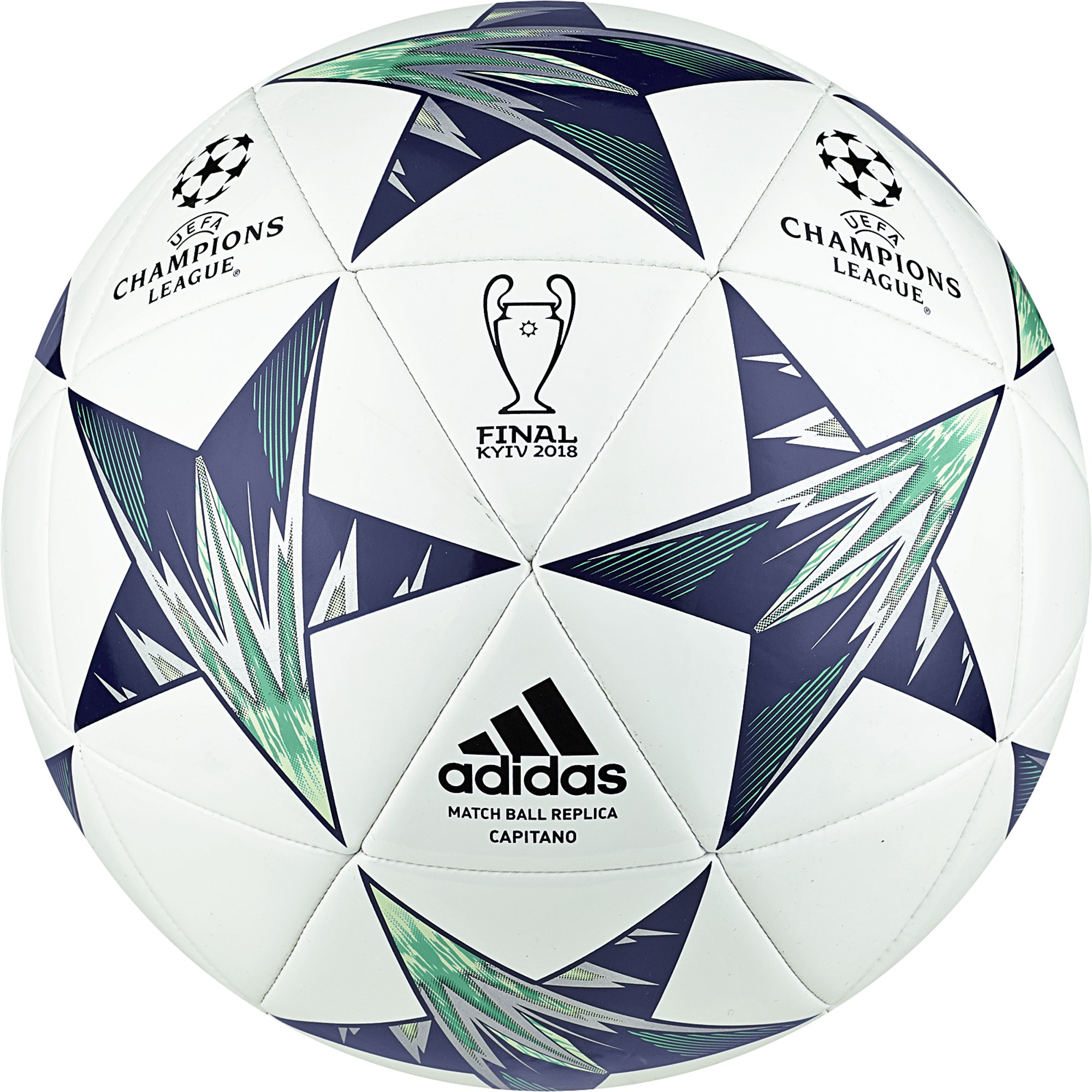 adidas Performance Champions League Finale Kiev Capitano Soccer Ball, White/Blue, Size 3