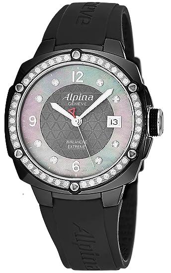 Alpina Aventura Avalancha Extreme Ladies Large Negro banda de goma Swiss Diamond Reloj para mujer al-240mpwd3aedc6: Alpina: Amazon.es: Relojes
