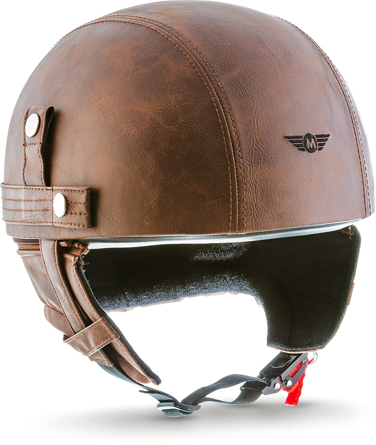 MOTO HELMETS D22  Leather Braincap Bombshell Helmet Vespa Motorcycle Helmet Scooter Helmet Jet Helmet Bobber Vintage Moped Scooter Helmet Pilot Cruiser Chopper Helmet Retro Leather with Fabric Carry Case MOITO HELMETS D22_LEATHER-BROWN_XXL