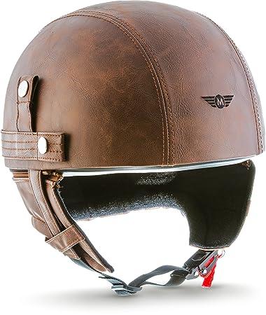 Moto Helmets D22andnbsp;-andnbsp;Casco cruiser in pelle, stile vintage, con borsa per il trasporto in tessuto
