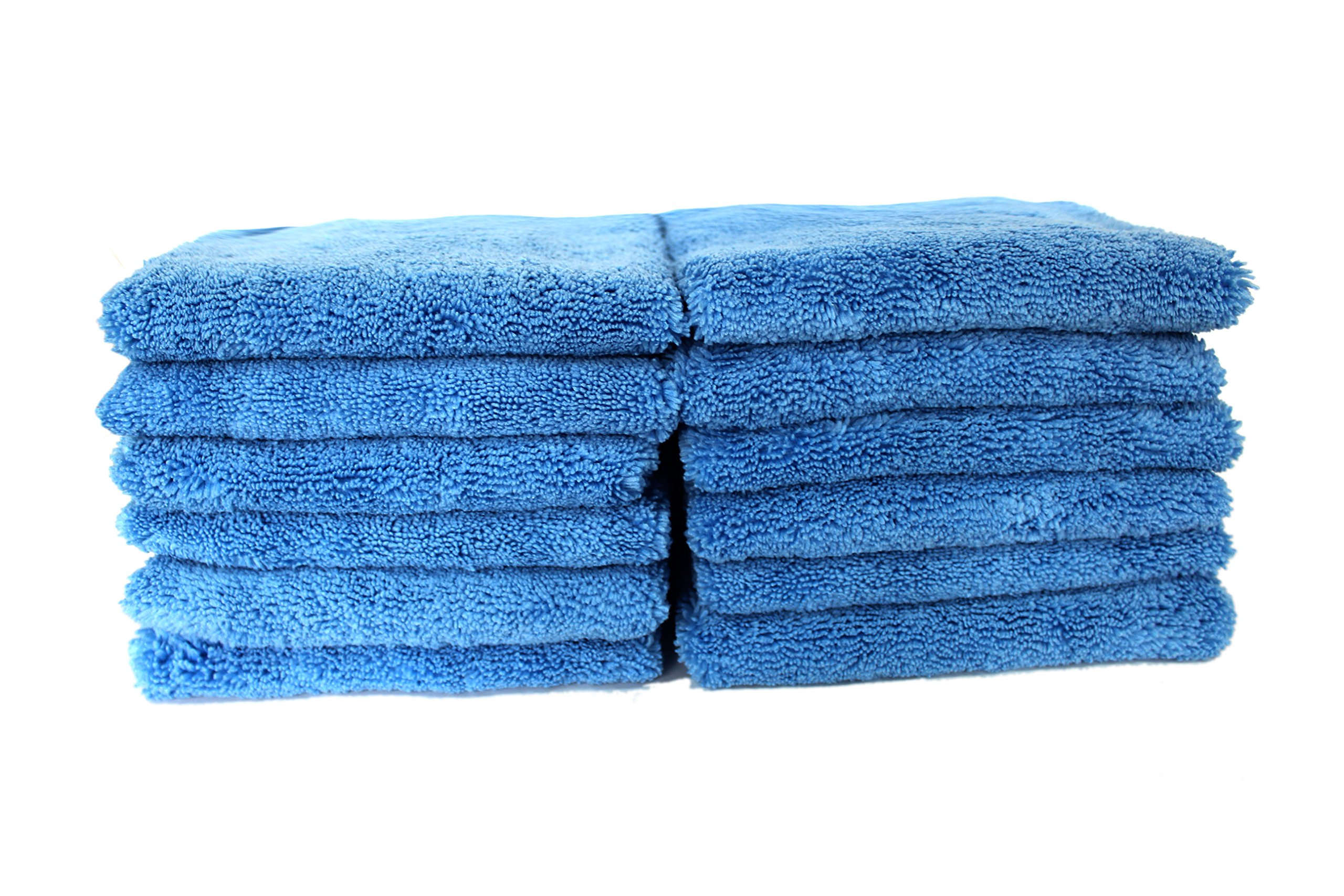 Maxshine 380GSM Zero Crazy Edgeless Microfiber Towel for Car Detailing, Blue (40x60cm, Pack of 12pcs)