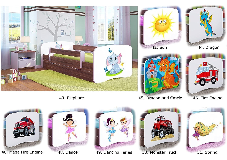 Cama individual BabyDreams - Para niños Niños Toddler Junior 140x70 160x80 180x80 SIN CAJONES Y SIN COLCHONES INCLUIDOS (Nogal claro, 140x70): Amazon.es: ...