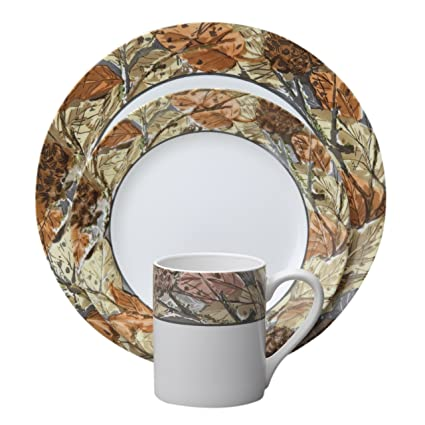 Amazon.com: Corelle Impressions 16-Piece Dinnerware Set, Woodland ...