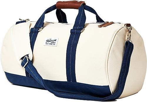 THE MASTLINE Co. Hudson Barrel Duffel Travel Bag Canvas Leather Natural White