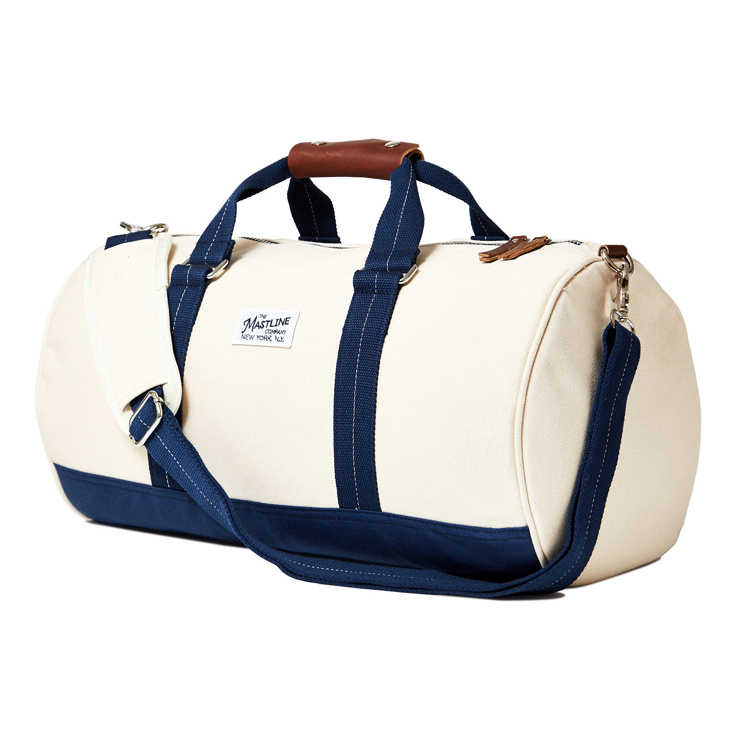 THE MASTLINE Co. | Hudson Barrel Duffel Travel Bag | Canvas & Leather (Natural White) by THE MASTLINE Co. (Image #1)