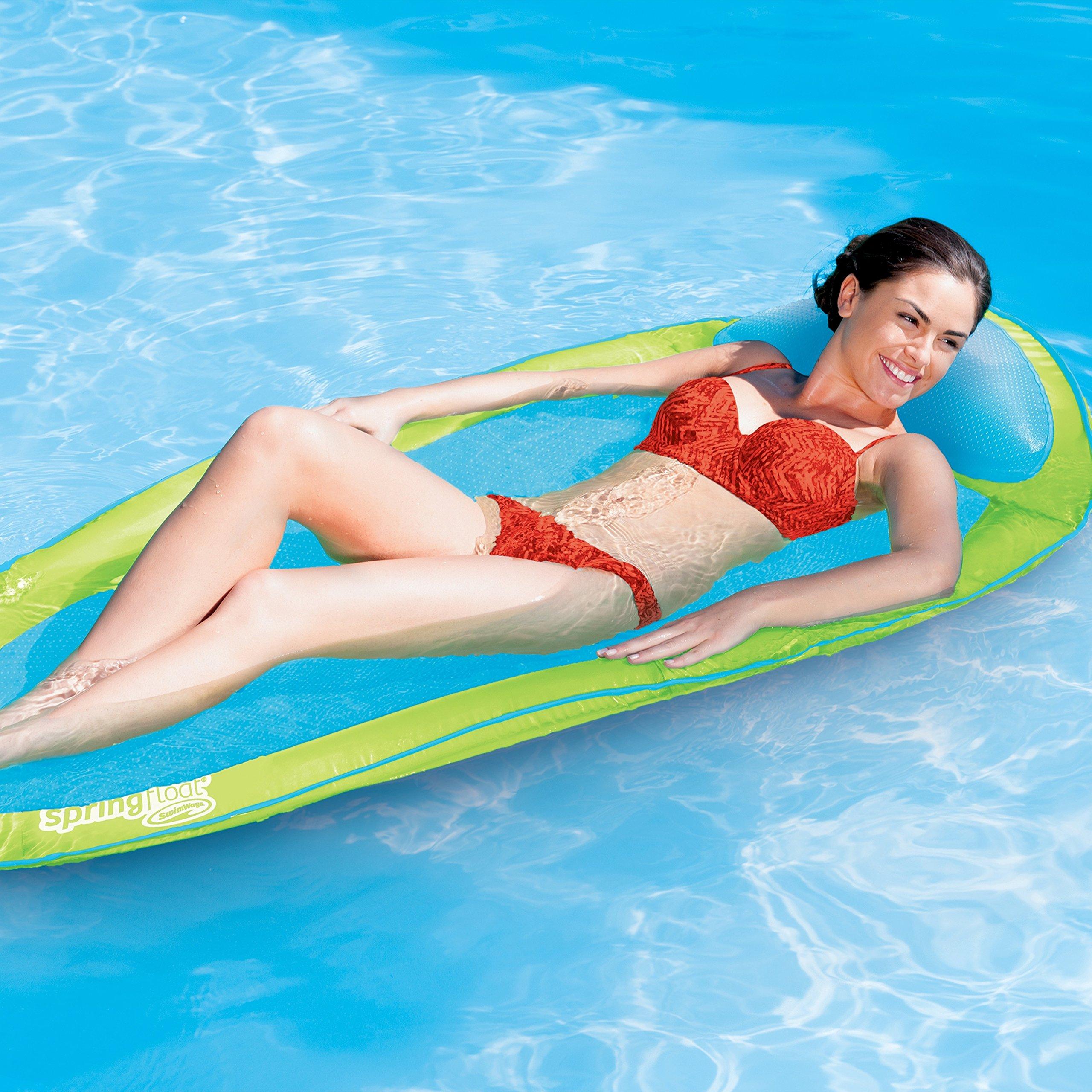SwimWays Original Spring Float - Floating Swim Hammock for Pool or Lake - Lime/Light Blue by SwimWays (Image #2)