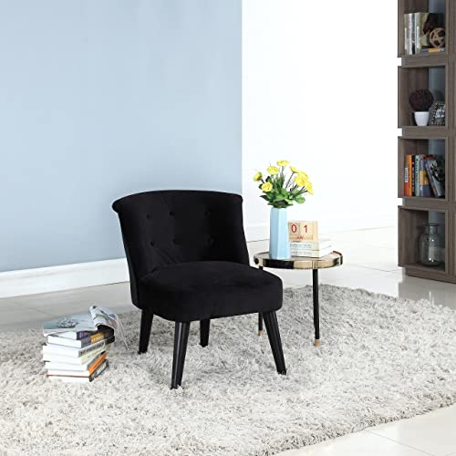 Divano Roma Furniture Classic and Traditional Living Room Velvet Fabric Accent Chair with Tufted Details Black