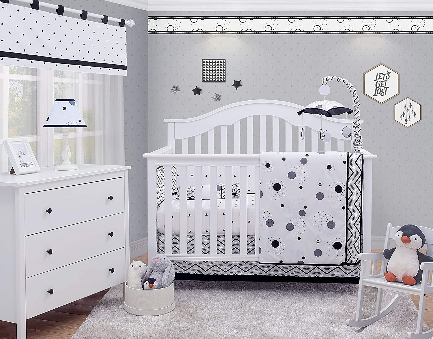 OptimaBaby 6 Piece Baby Nursery Crib Bedding Set, Black White Polka Dot Pattern, Blue/White/Black/Gray