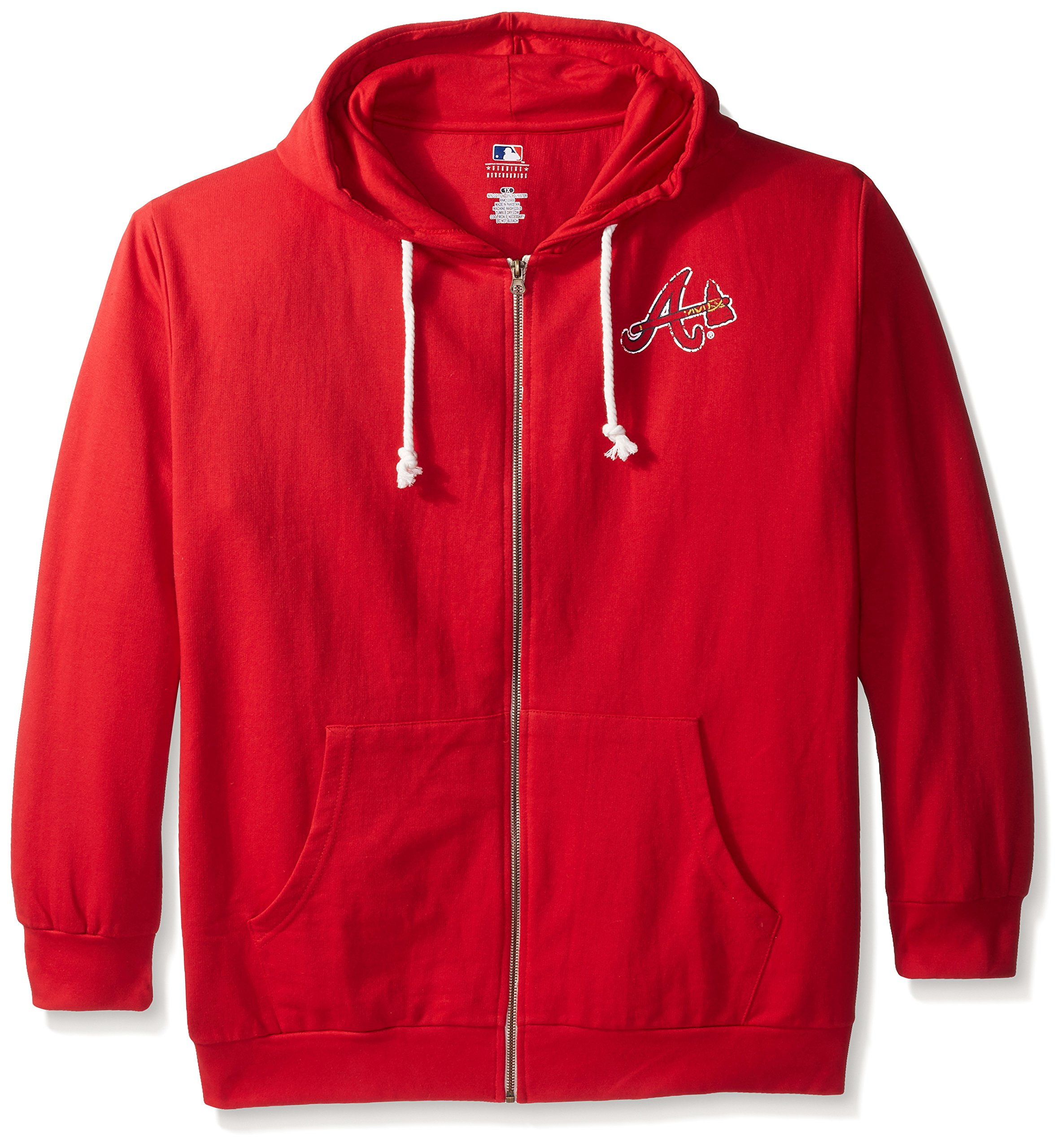 MLB Atlanta Braves Plus Size Zip Hood with Logo, 3X, Red